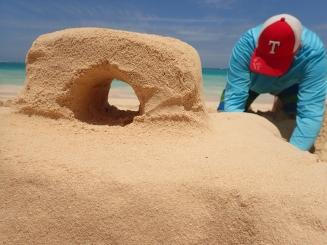 Patrick built a sandcastle.